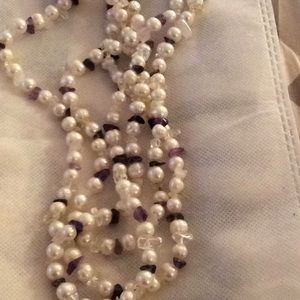 Jewelry - Genuine pearls amethyst and clear quartz